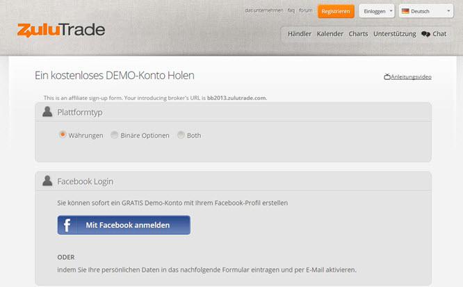 ZuluTrade über Facebook Account anmelden