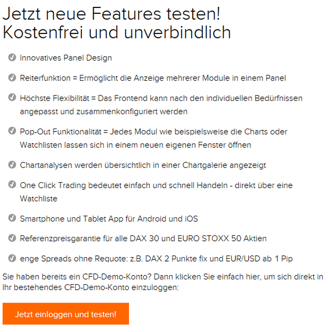 Vorteile CFD-Demokonto Flatex