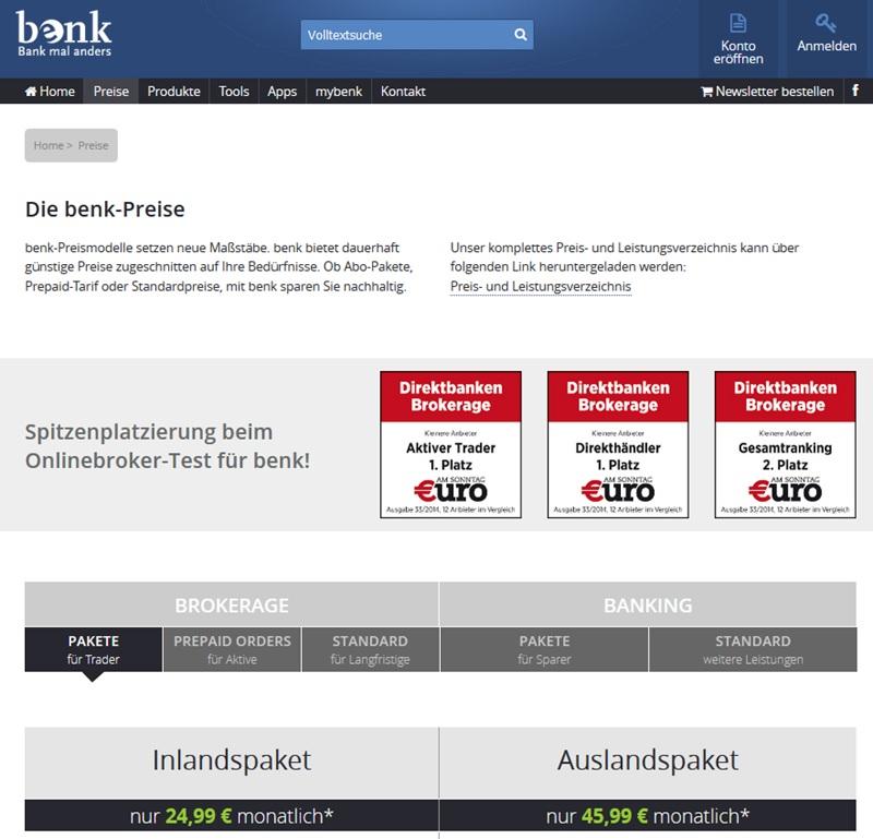 Screenshot Startseite benk