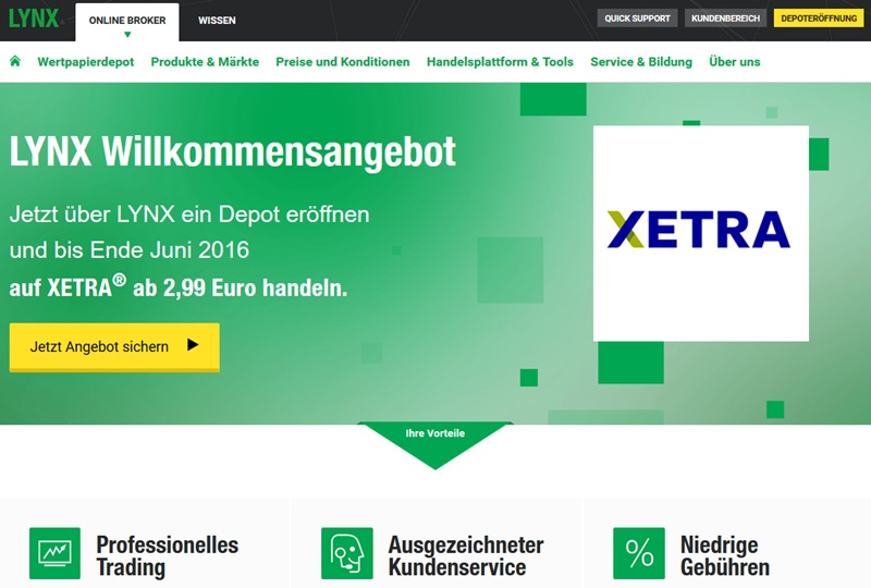 Screenshot Startseite LYNX