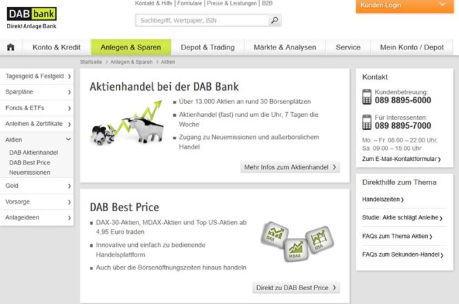 Überblick zum Broker DAB Bank