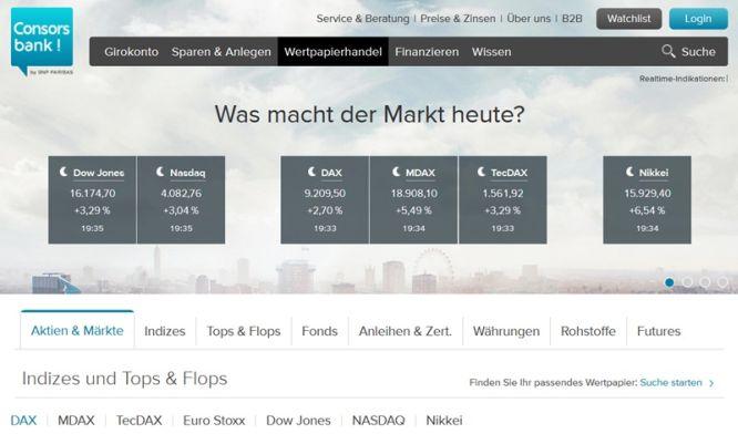 Screenshot Depotübersicht Consorsbank