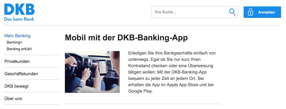 Mobil mit der Banking-App von DKB