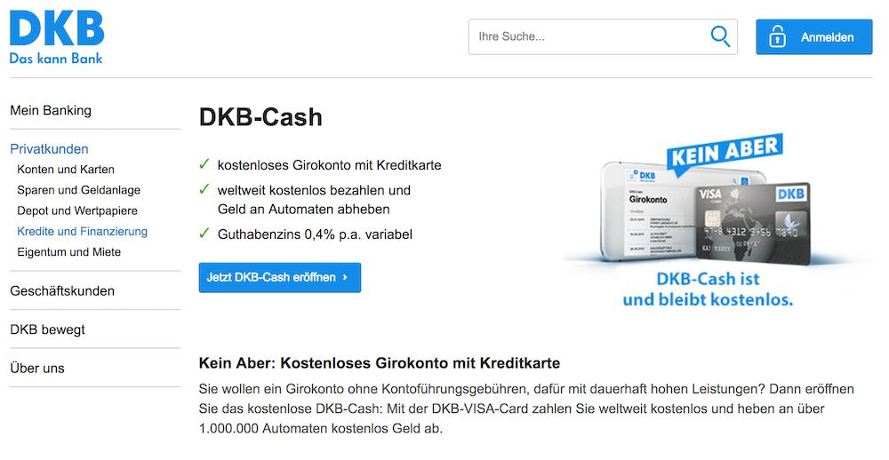 Das DKB-Cash Konto ist kostenlos und bietet eine VISA-Card zusätzlich an