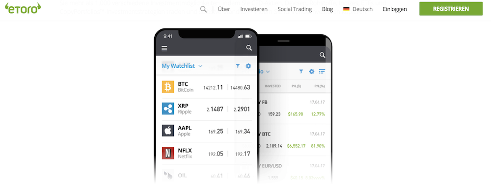 eToro Aktienhandeln App
