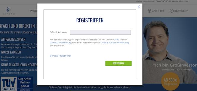 Exporo Registrierung