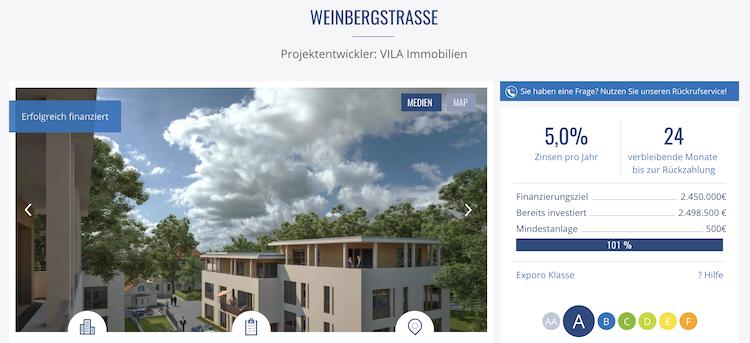 Exporo Wohnprojekt Weinbergstrasse