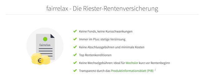 fairr.de Riester-Rentenversicherung