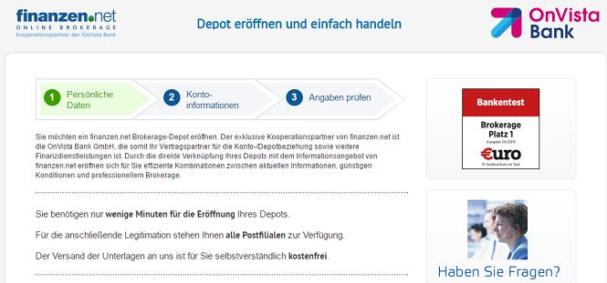 Finanzen.net Depotanmeldung