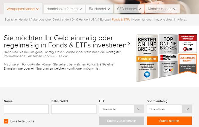 flatex ETF Fonds Suchmaske