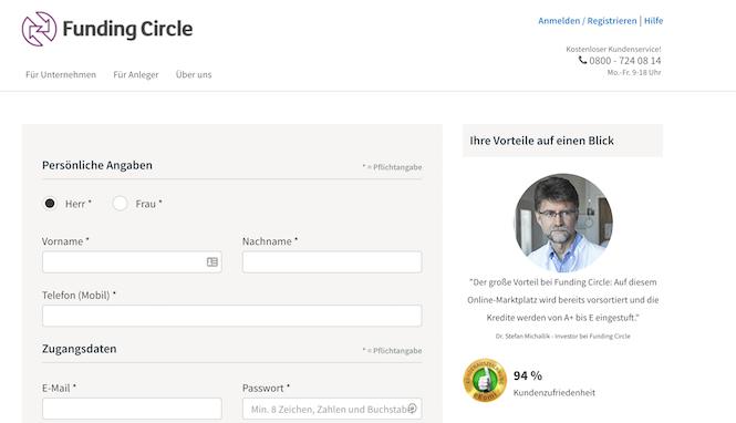 Funding Circle Anmeldung