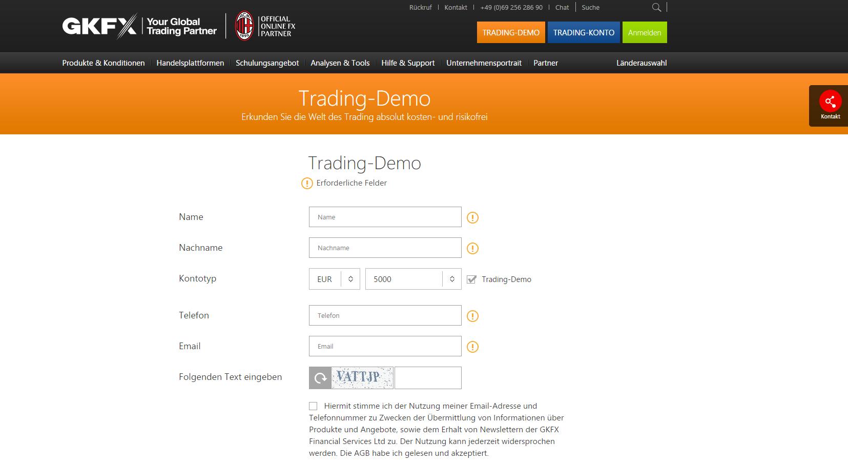 In nur wenigen Minuten ist die Anmeldung zum GKFX Demokonto abgeschlossen