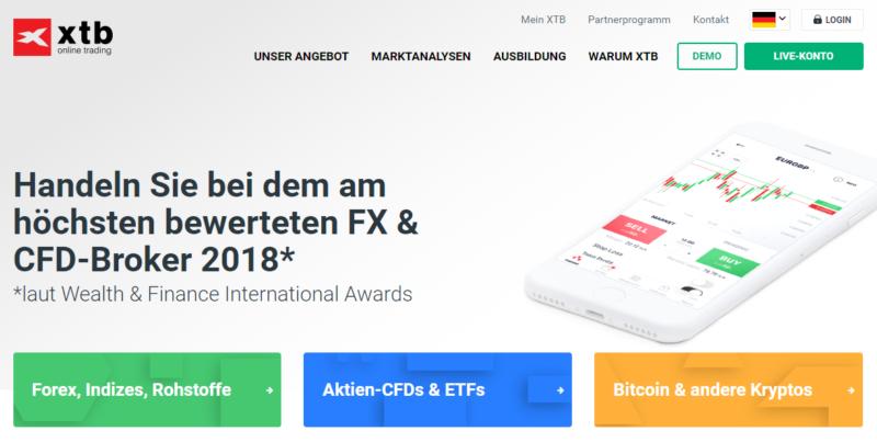 XTB ist laut einer Auszeichnung der beste FX- und CFD-Broker