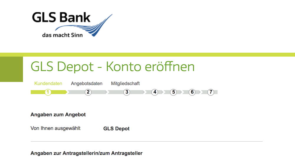 GLS Bank Depoteröffnung