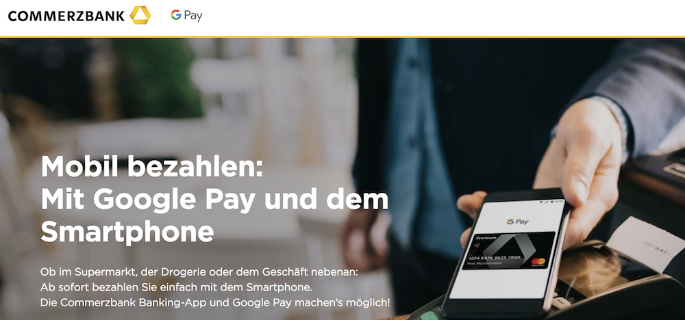 Commerzbank Google Pay Smartphone bezahlen