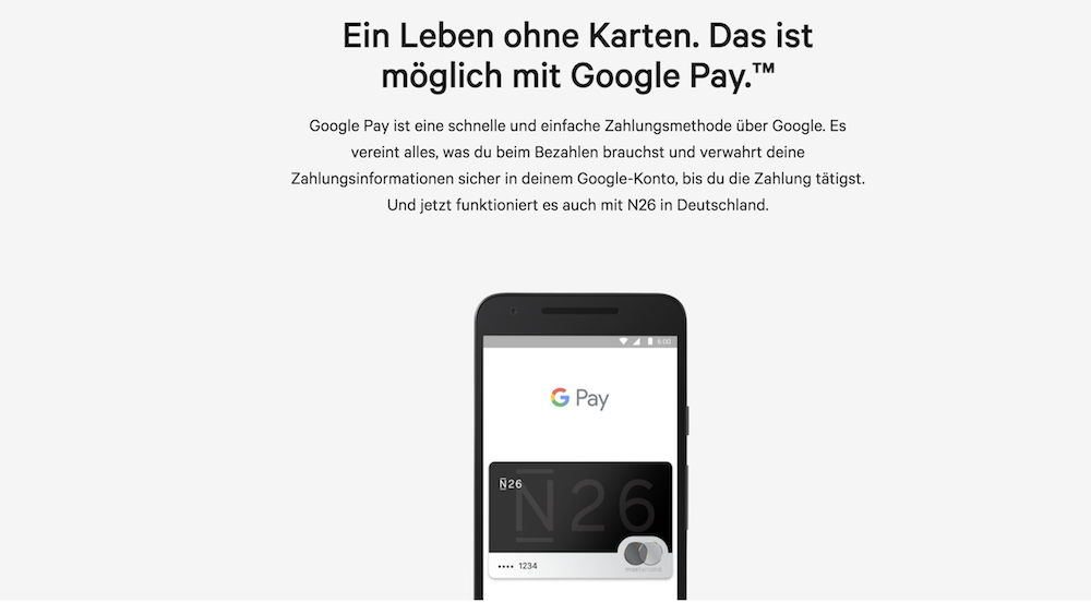 n26 Google Pay Bezahlung