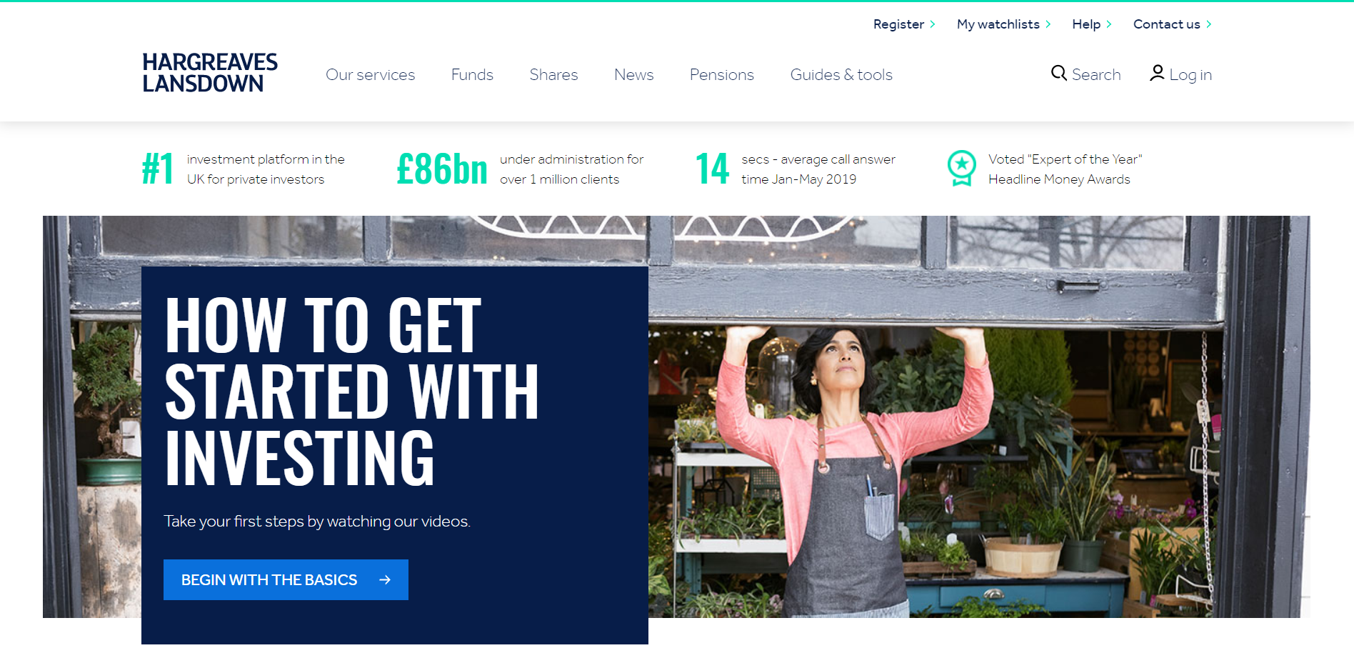 This is the homepage of hargreaves lansdown