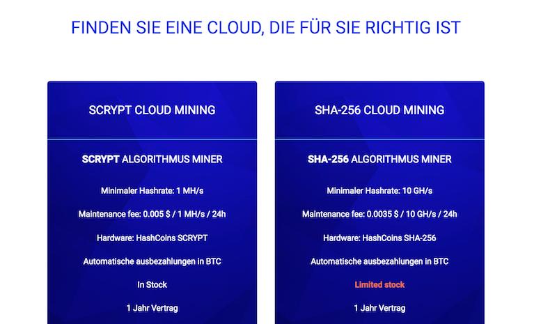 HashFlare Cloud-Mining Pläne