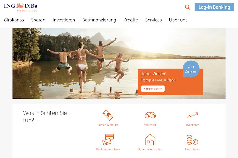Auf der Webseite der ING-DiBa stehen zahlreiche Finanzprodukte zur Verfügung