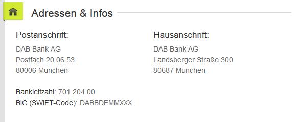 Der DAB Bank kann man auch heute noch ganz klassisch einen Brief schreiben. Screenshot der Website.