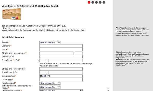 Online-Kreditkarten-Antrag auf lbb.de