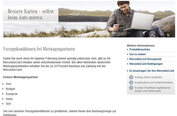 Die Mietwagenzusatzleistungen auf mercedes-benz-bank.de
