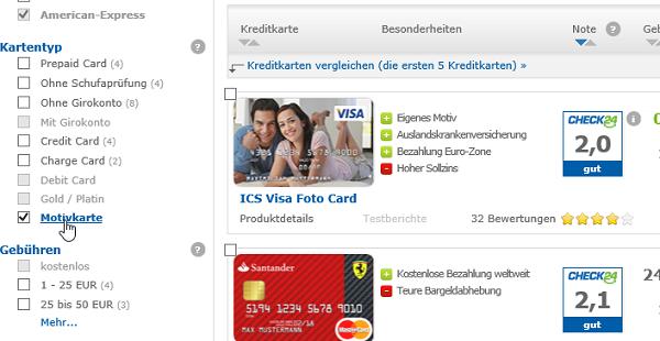Kreditkarteanbietervergleich mit Motivkarte auf check24.de