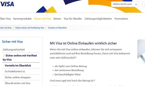 Verified-by-VISA-Angebot auf visa.de