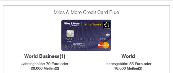 Kreditkartenangebot Miles & More Credit Card Blue auf miles-and-more-kreditkarte.com