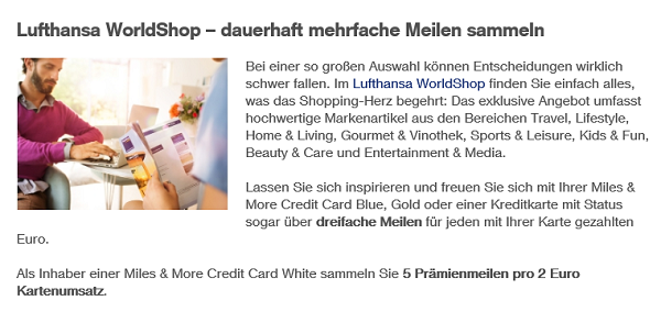 Bonusoption Lufthansa-World-Shop auf miles-and-more-kreditkarten.com