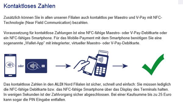 NFC-Payment Vorstellung auf aldi-nord.de