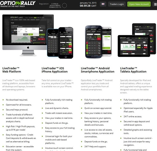mobile Anwendungen Optionrally