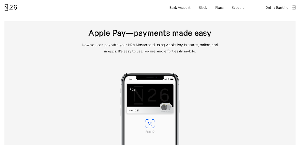 Die N26 Bank bietet ebenfalls Apple Pay als Zahlungsmethode an