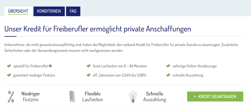 Netbank Kredit Freiberufler