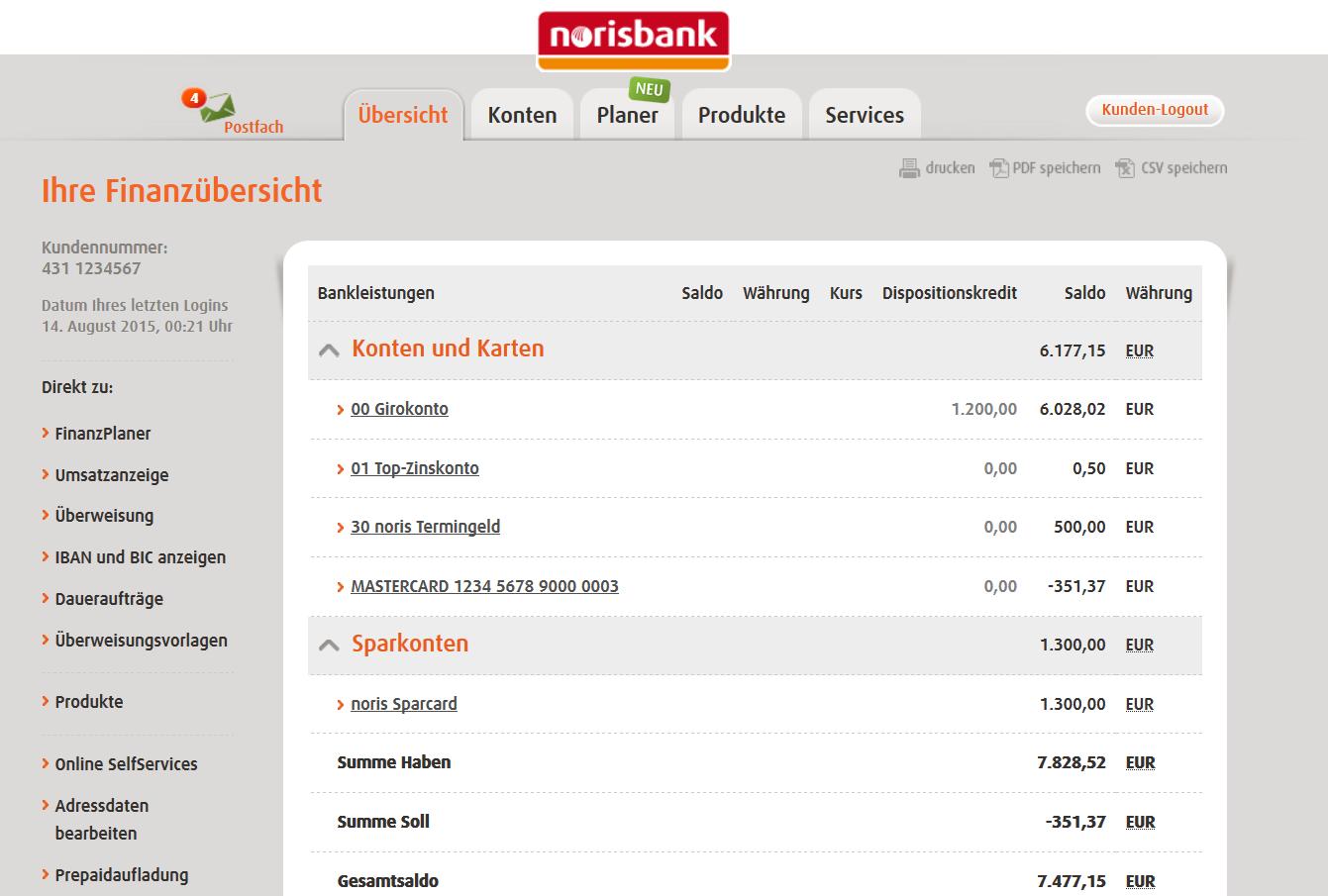 Kombiangebot auf norisbank.de