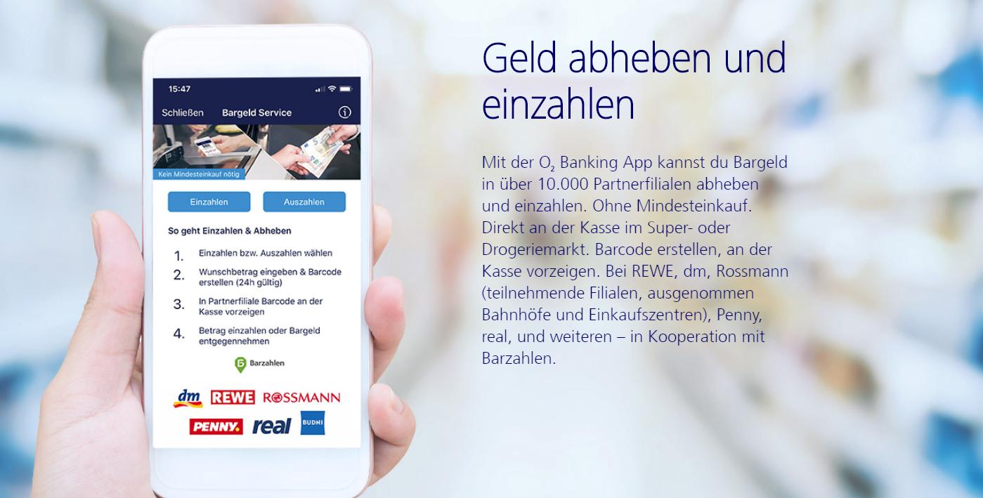 So können Sie mit der O2 Banking App Geld abheben