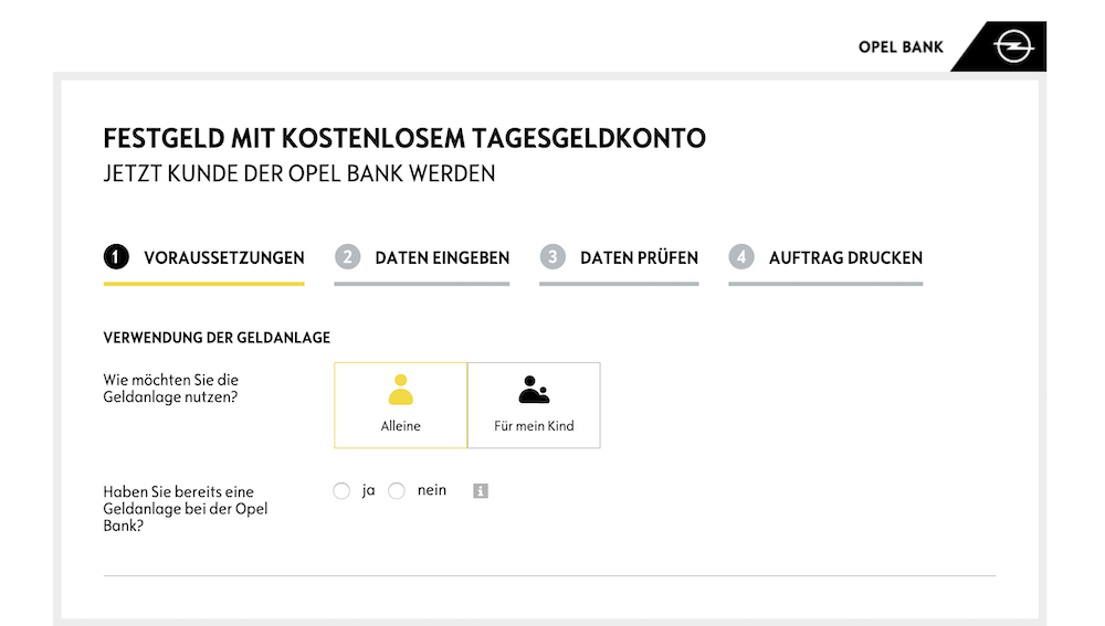 Opel Bank Festgeldkonto Eröffnung