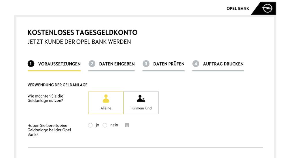 Opel Bank Kontoeröffnung