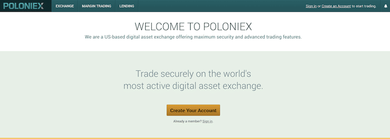 Poloniex Webseite