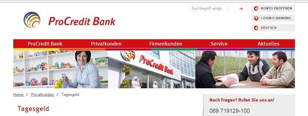 Das Tagesgeld bei der ProCredit Bank Bild: