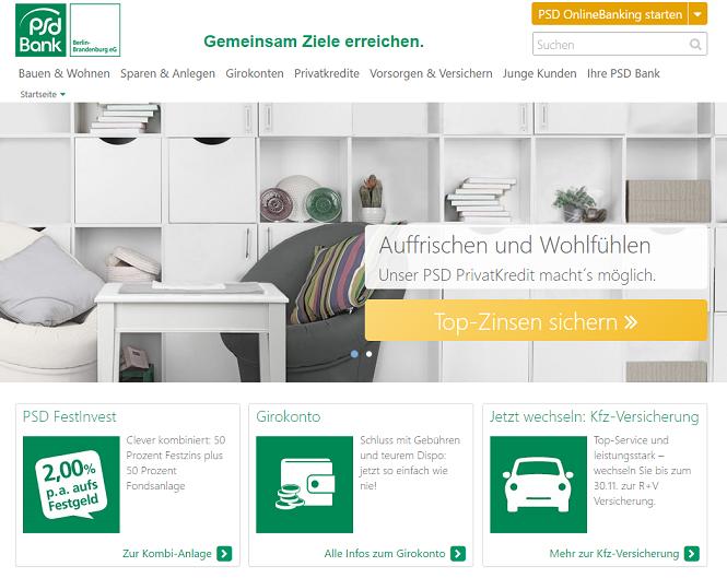 PSD Bank Berlin-Brandenburg Webseite