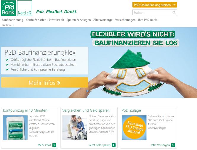 PSD Bank Nord Webseite