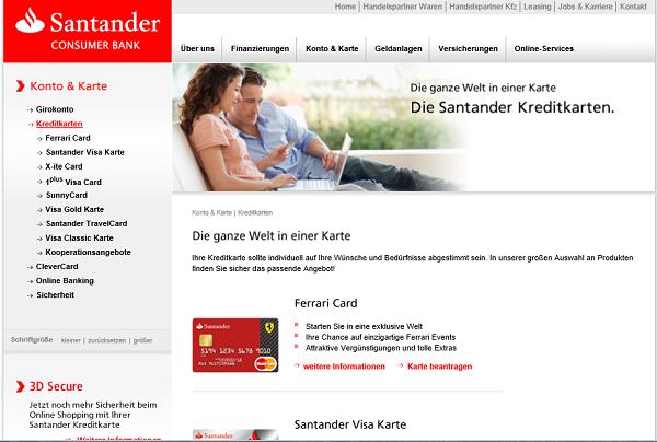 Kreditkartenübersicht auf santander.de