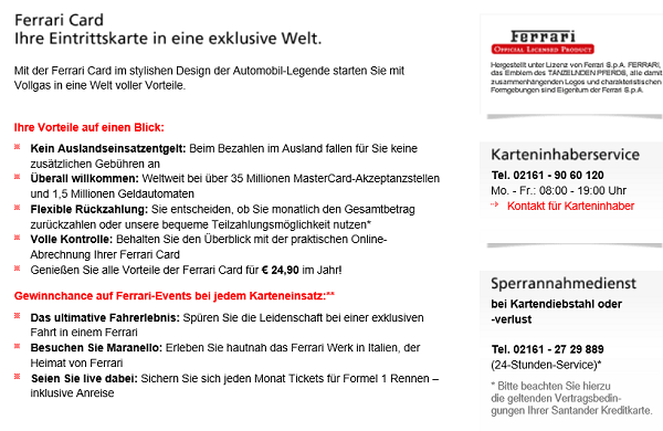 Ferrari Card auf santander.de