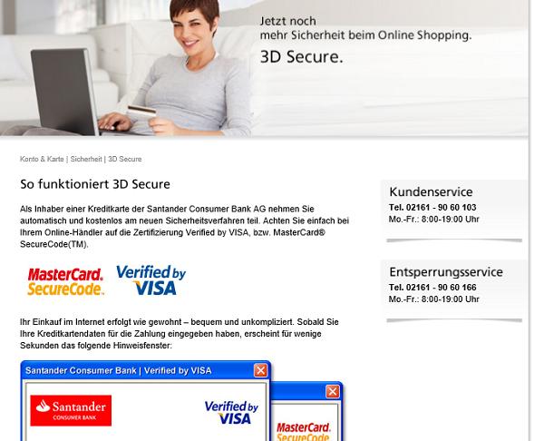 3D-Secure auf santander.de