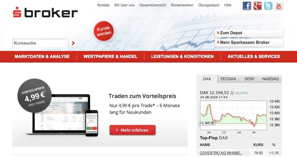 Sparkassen Broker Webseite