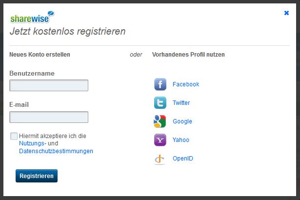 Registrierung bei sharewise