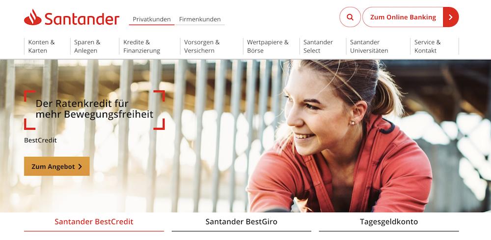 Santander Bank Produkt sina
