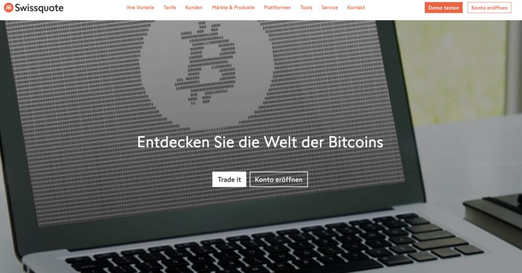 Swissquote Handel mit Kryptowährungen