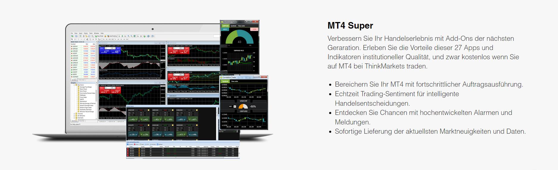 ThinkMarkets bietet den MT4 Super an